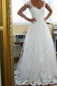 cheap bridal gowns capped sleeve open back cheap wedding gowns lace appliques