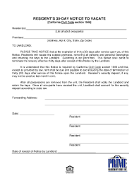 bill of sale form sample letter notice of intent to vacate