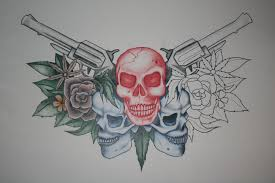 skull and guns design by itchysack on deviantart