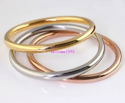 solid bracelet images Heavy 3pcs set women 4mm solid cuff bangle stainless steel 68mm jpg