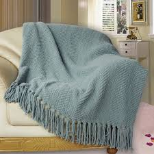 bnf home knitted tweed throw cover sofa blanket light weight