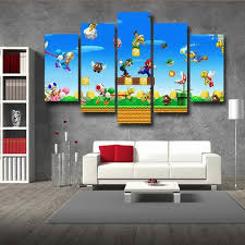 Super Mario Bedroom Decor Super Mario Bros Luigi 5pc Wall Art Decor Posters Canvas Prints