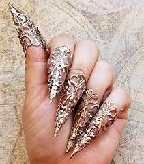 fashion long rings images 5 silver brass nail armour rings cosplay accessories long sharp jpg