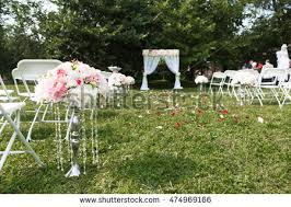 Background With Chair Beautiful Wedding Ceremony Park Rain Stock Photo 332047484
