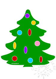 tree with ornament clipart coloring page