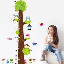 toise chambre b amovible bébé de bande dessinée stickers muraux arbre enfants toise