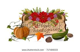 thanksgiving day symbols set happy thanksgiving stock vector