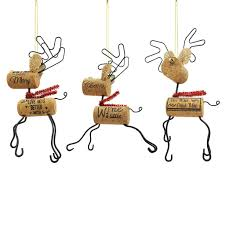 st nicholas square wine cork reindeer ornaments 3 set