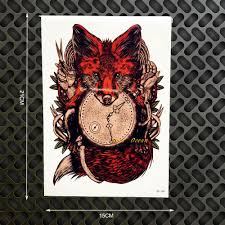 wholesale red fox designs flash tattoo body art arm sleeve
