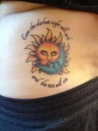 half sun half moon on hipmoon tattoos sun