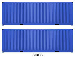 blue shipping container scale size flat car load shipping