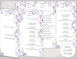 folded wedding program template trifold wedding program template wisteria and silver