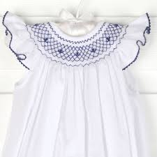 navy geometric smocked dress white smocked auctions