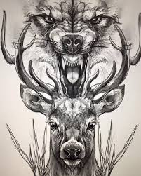 black ink deer and wolf head tattoo design
