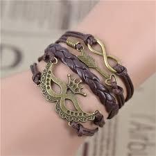 leather leaf bracelet images Owl leaf charm bracelet bangles jewelry friendship gift jpg