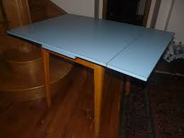 Vintage Beech Extending Kitchen Table Blue Formica Melamine Top - Beech kitchen table