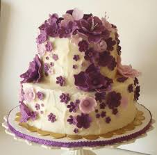 cascading purple flowers birthday cake cakecentral com