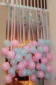 homemade baby shower decorations ideas blue pink balloon with