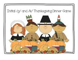 speech therapy initial g and k words thanksgiving dinner