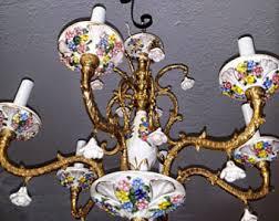 Italian Porcelain Chandelier Vintage Porcelain Chandelier Etsy