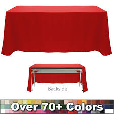 8 ft table cloth with logo non printed 8 ft throw style tablecloth open back trade show