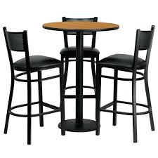 metal bar table set metal pub table set round natural laminate table set with 3 grid
