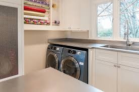 Countertop Clothes Dryer Laundry Room With Gift Wrapping Station Transitional Laundry Room