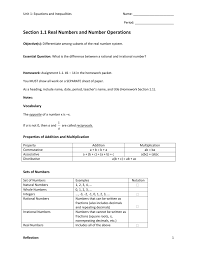Rational Or Irrational Numbers Worksheet Section 1 1 Real Numbers And Number Operations