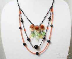halloween jewelry pumpkin patch necklace by beadingowl on deviantart