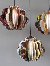 luminaire en carton pendant lights made from vintage album covers for the home