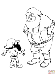 santa and christmas elf coloring page free printable coloring pages
