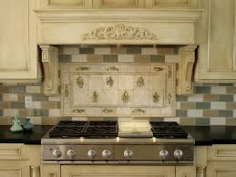 interior entrancing natural stone tile kitchen backsplash cream