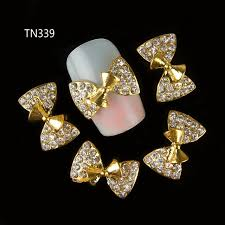 aliexpress com buy 10pcs 3d gold nail alloy decoration bow
