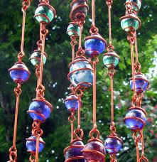 Glass Garden Decor Rainbow Chakra Suncatcher With Copper Wire Wrapped Glass