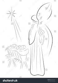christmas angel baby jesus pencil drawing stock vector 485793433