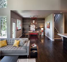 engineered wood flooring planks as an accent wall