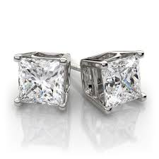 diamond earring studs 4 prong princess cut diamond stud earrings in 18k white gold