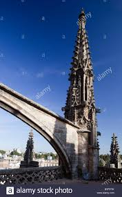 gothic flying buttress and on the roof of santa maria de