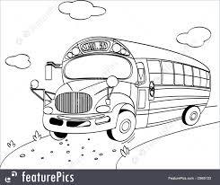 bus transport bus coloring page stock illustration