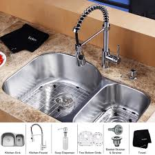 stainless steel kitchen sink combination kraususa com kraus 32 inch undermount double bowl stainless steel kitchen sink with kitchen faucet and soap dispenser