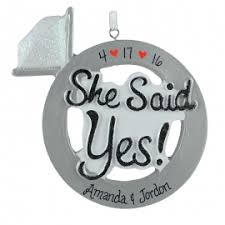 she said yes engagement ring ornament personalized ornaments for you