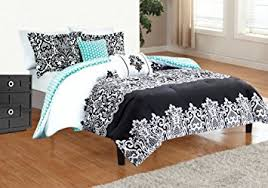 Black And Teal Comforter Amazon Com 5pc Adorable Teen Black Teal Damask Full Queen