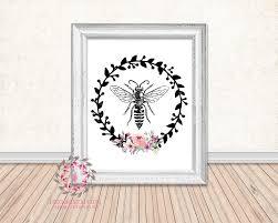 bee bumblebee watercolor floral boho wreath printable wall art