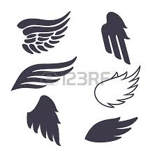 vector set of bird wings silhouettes elements for logo labels