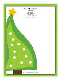 Thanksgiving Stationery Free Large Christmas Tree Green Border Stationery