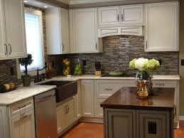 Kitchen Color Schemes by L Shaped Brown Painted Wooden Kitchen Cabinets Grey Painted Wooden