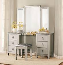 Silver Mirrored Bedroom Furniture Silver Stained Hardwood Make Up Table With Twin Drawers Cabinet