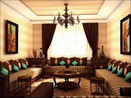 The Living Room Salon Salon Marocain Traditionnel Marron Et Touche De Turquoise De