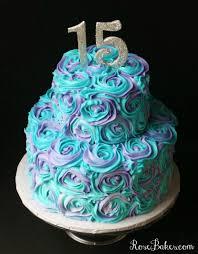 Teal Roses Teal U0026 Lavender Swirled Buttercream Roses 15th Birthday Cake