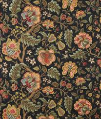 Black Floral Curtains Ready Made Jacobean Drapes
